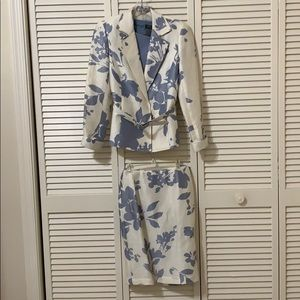 Lafayette cream and slate 3 piece skirt suit.